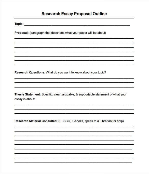 Proposal Essay Outline Example Research Essay Example Research Paper