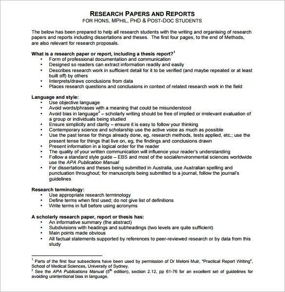Report Outline Template 10 Free Sample Example Format – Sample Research Report