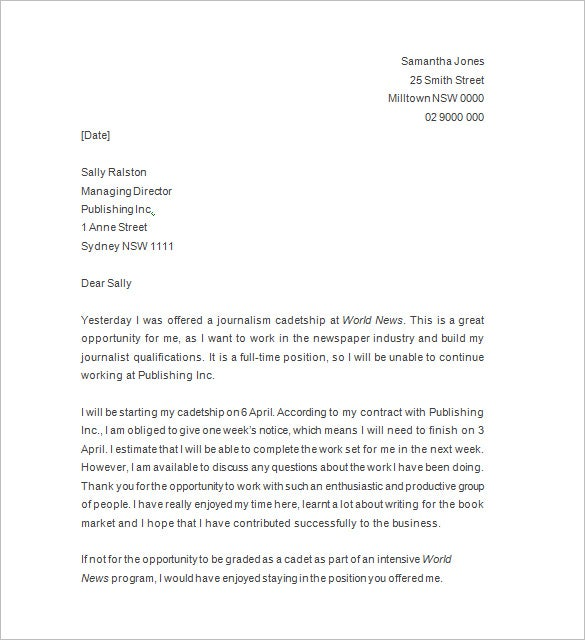 sample resignation notice template