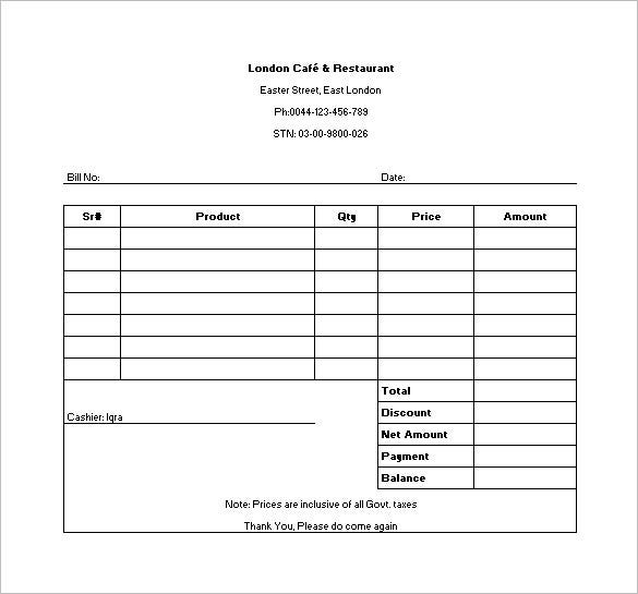 Restaurant Receipt Template 6 Free Sample Example Format – Sample Receipts