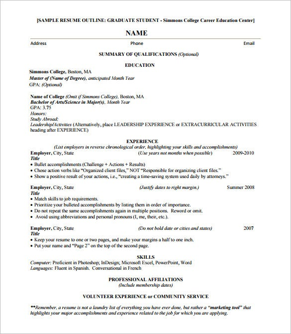 sample resume outline for graduate student
