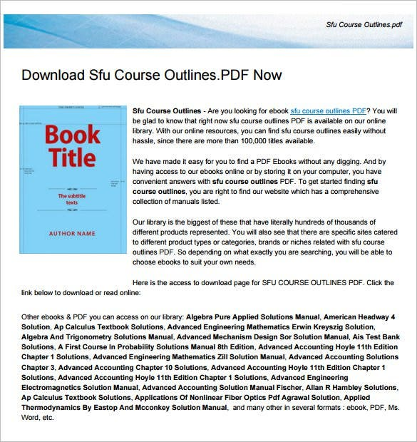sample sfu course outline template