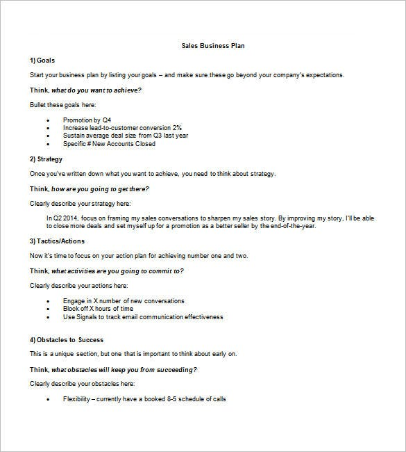 sample sales business plan template
