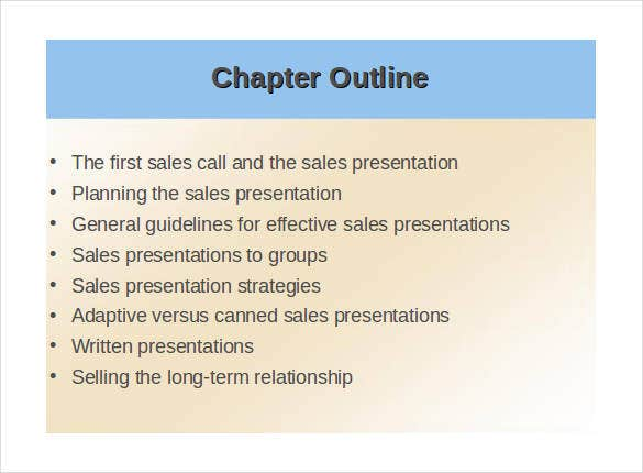 sample sales presentation outline template