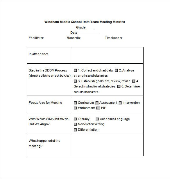 Sample School Meeting Minutes Template
