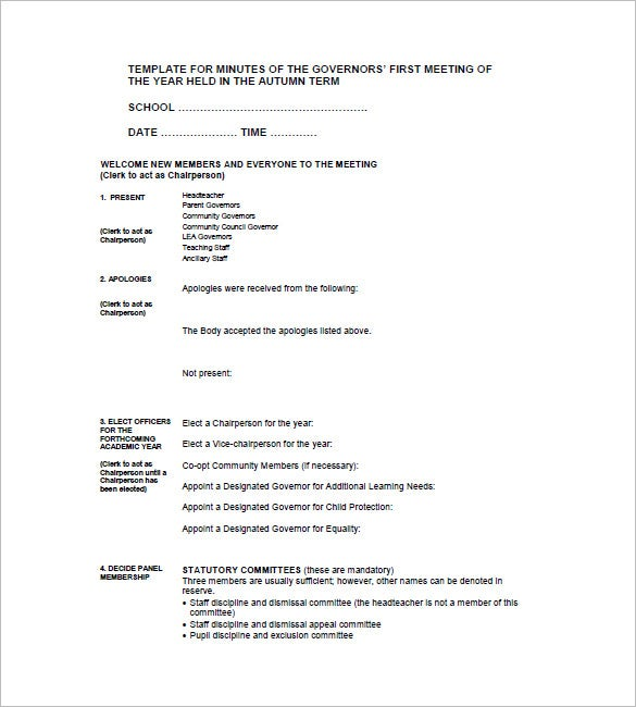 sample school meeting minutes template2
