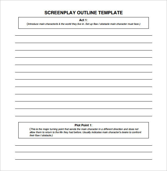 Screenplay outline template 6 free sample example for Free movie script template