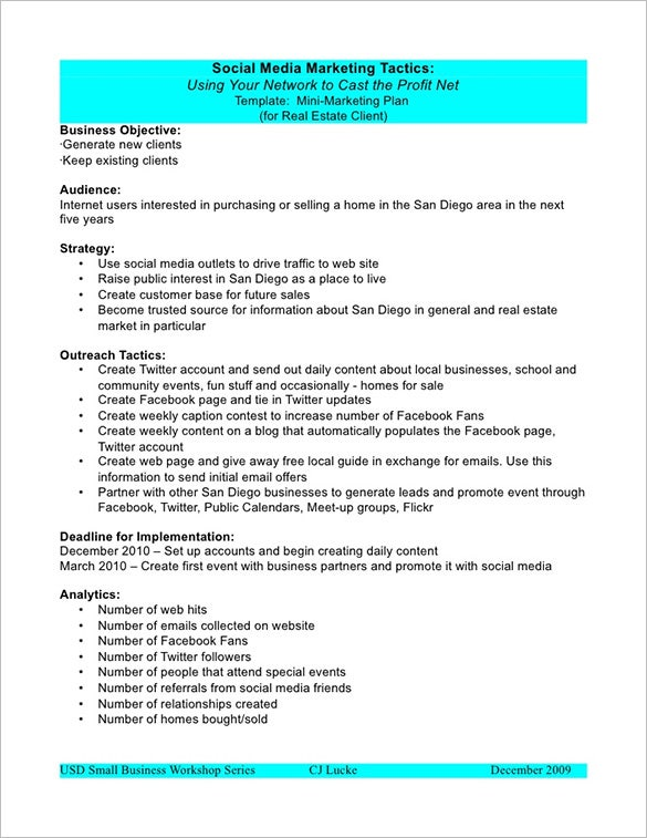 Marketing Plan Outline Template   Free Sample Example Format