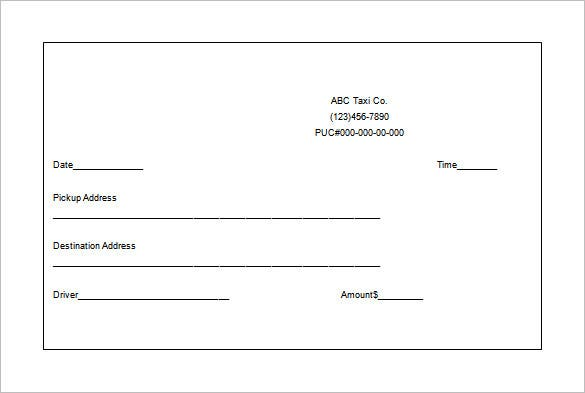 Taxi Ticket Format  Basic Receipt Template