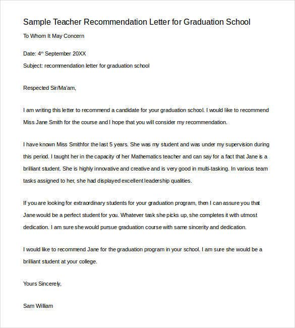 Sample Teacher Recommendation Letter For Graduation School