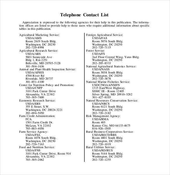 contact list template 19 free sample example format free