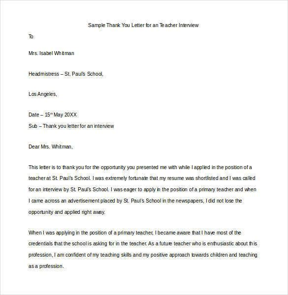 sample thank you letter for an teacher interview1