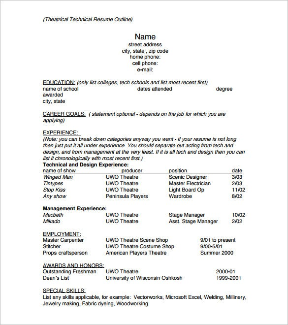 creating your resume is now easier than you can imagine there is no need to panic if you are doing this for the first time get this outline template and - Resume Outline Example