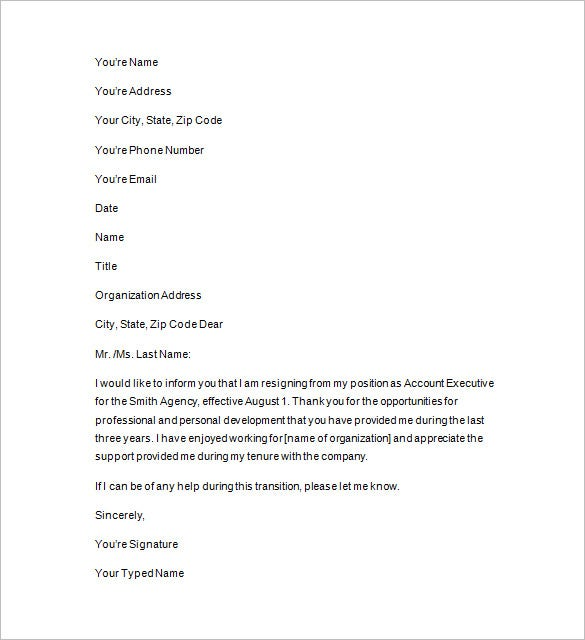sample two weeks notice format download