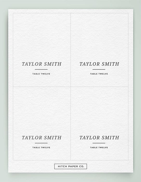 Name card template 16 free sample example format for Free place card template