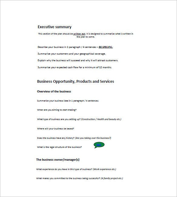 Small Business Plan Template   Free Word Excel  Format