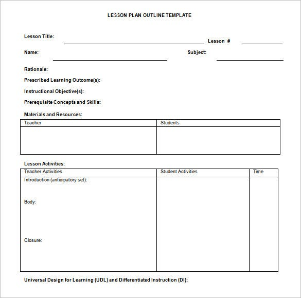 Lesson Plan Outline Template   Free Free Word Pdf Format