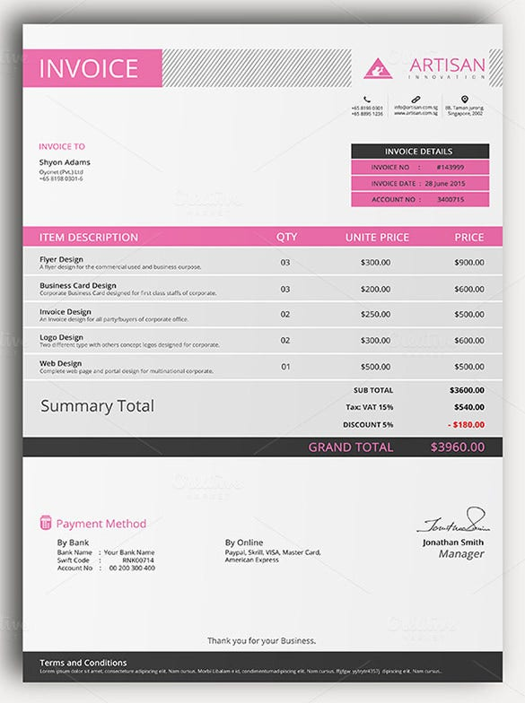 sample of invoice template sample download