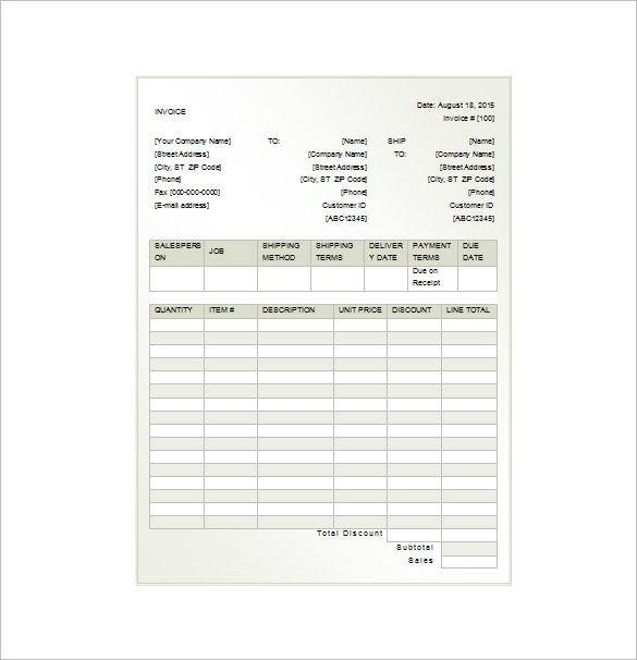Sample Of A Rent Invoice Receipt Free Download  Rent Invoice
