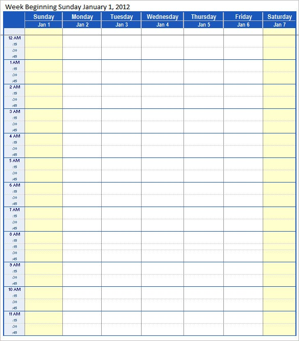 Schedule Template 39 Free Word Excel PDF Format Download – Weekend Scheduled Template