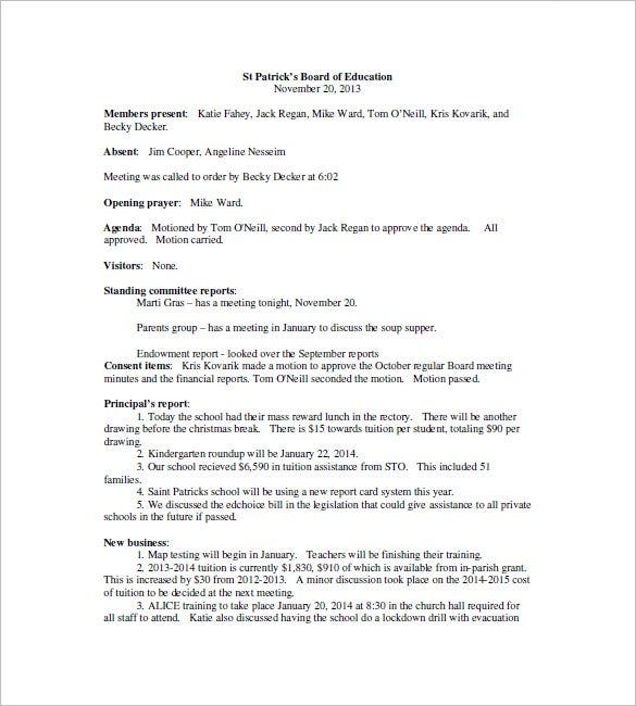 Nice School Board Meeting Minutes Template  Business Meeting Report Template