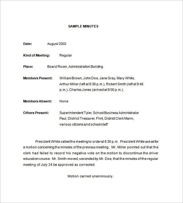 School Meeting Minutes Template 8 Free Sample Example Format – Meeting Minutes