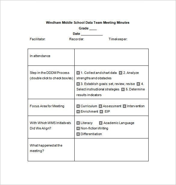 School Meeting Minutes Template   Free Sample Example Format