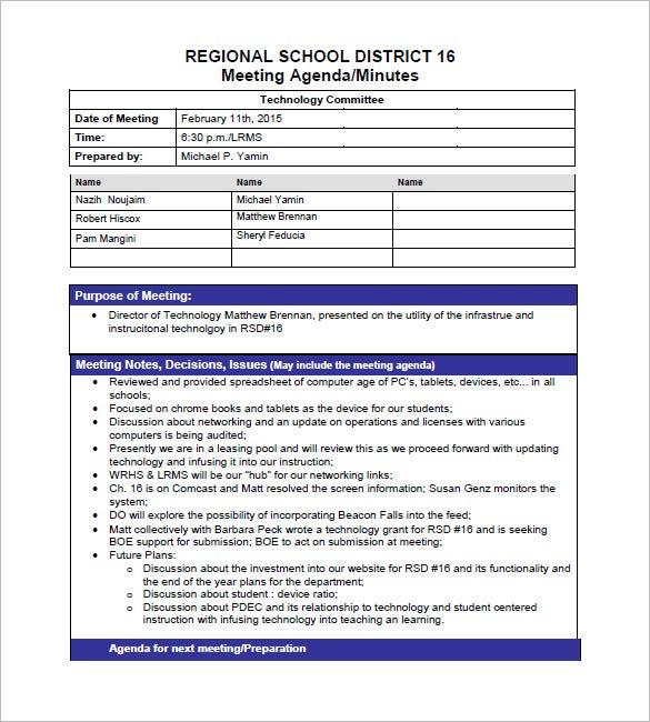 School Project Meeting Minutes Template  Free Sample Minutes Of Meeting Template