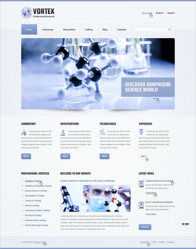 Science Lab Responsive Website Themes