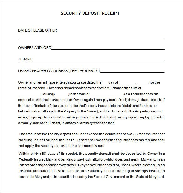 security deposit receipt word free download