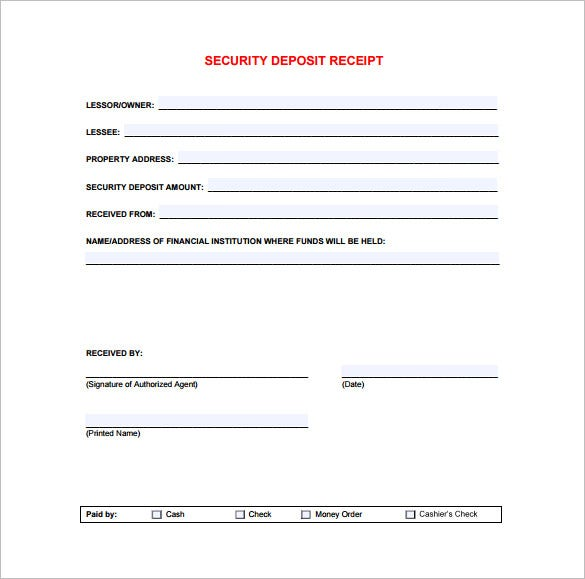 Receipt Template 90 Free Printable Word Excel PDF Format – Sample Deposit Receipt