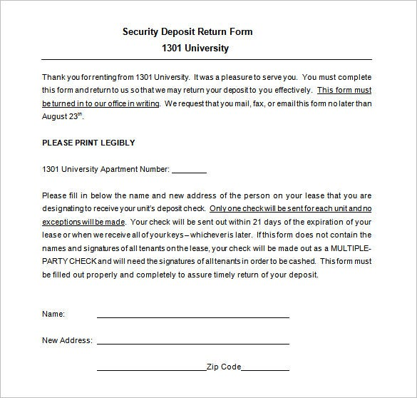 security deposit return form doc download