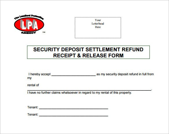 security deposit return receipt format download