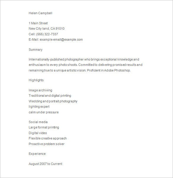 senior photographer resume word download