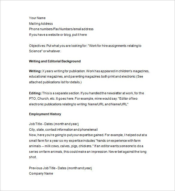 senior writer resume example