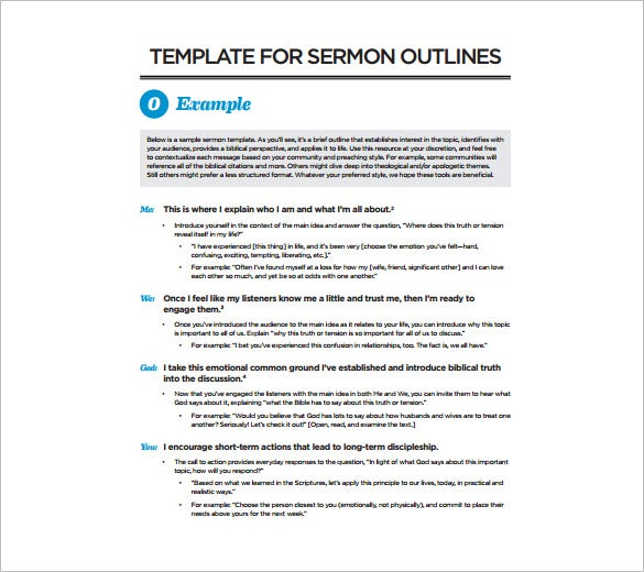 Sermon Outline Template – 10+ Free Sample, Example, Format