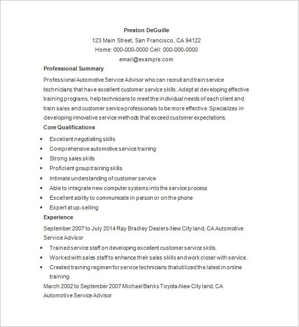service writer resume word download