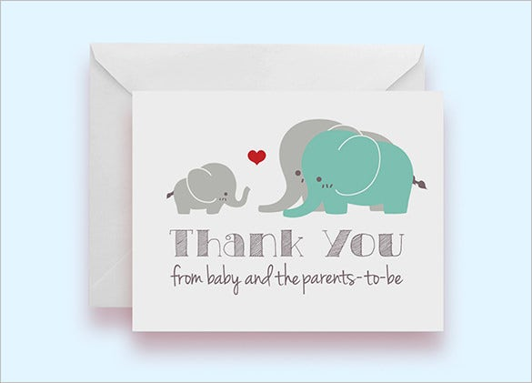 Set Of 10 Elephant Baby Shower Thank You Cards Download  Baby Shower Templates Word