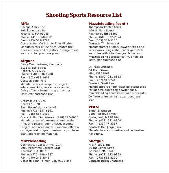 shooting-sports-resource-list-templates