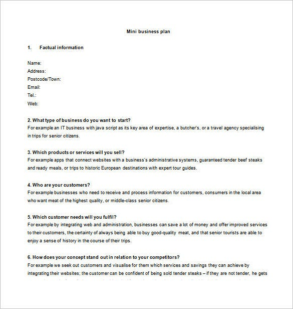 short business plan template free download