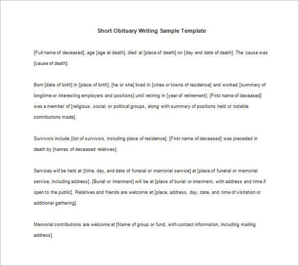 short obituary writing sample template