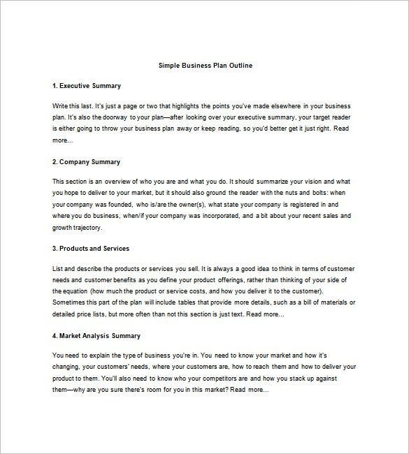 Articles.bplans.com | Simple Business Plan Outline Template Example  Contains Company Summary, Executive Summary, Product, Services And Market  Analysis.  Business Summary Template