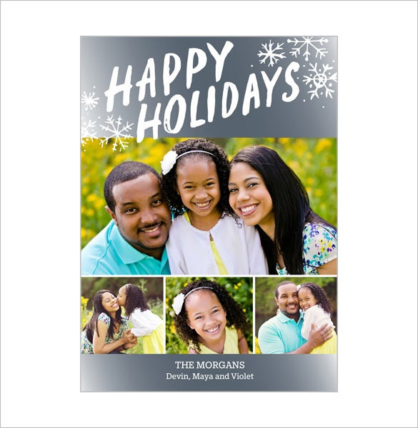 simple happy holiday photo card
