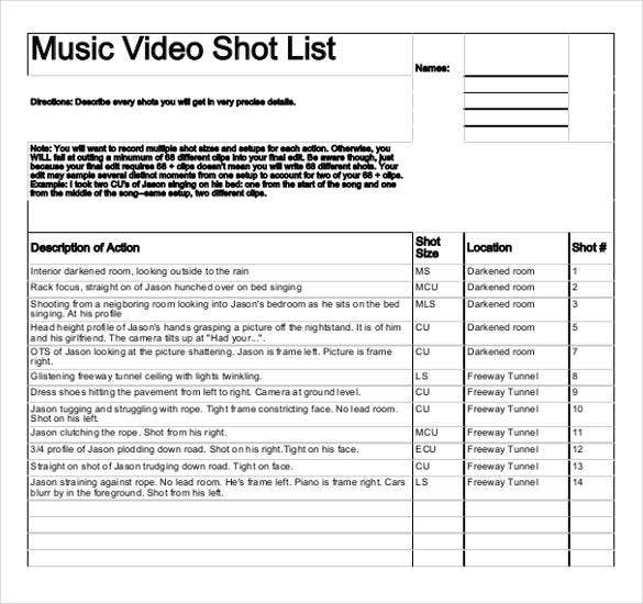 Shot List Template   Free Sample Example Format  Free