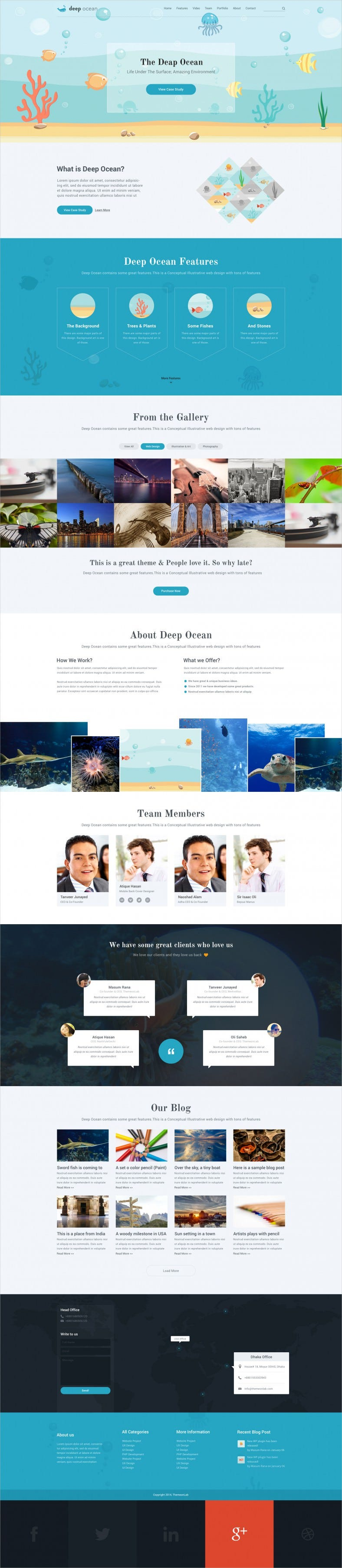 single page psd template for ocean under water 788x3612