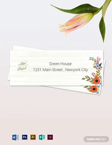 small flower wedding address labels card template