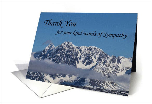 snowy mountains thank you sympathycard