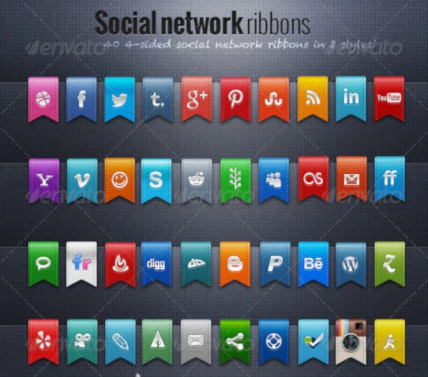 social network ribbon icons
