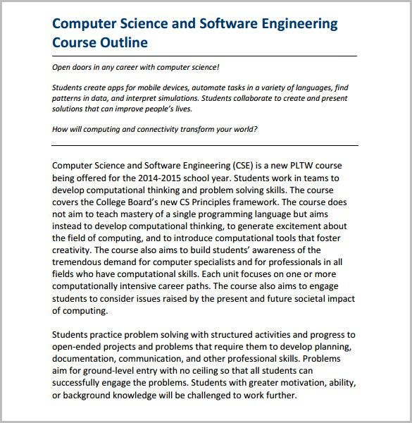 software engineering course outline template free download