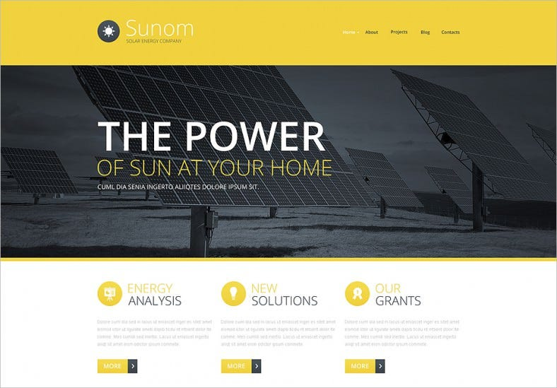solar energy company website template 788x549